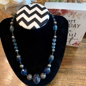 Precious Faceted Blue Stone & Silver Necklace